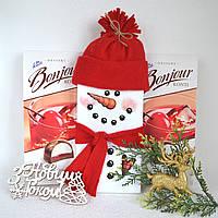 Оформлення новорічного шоколаду Сніговик