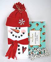 Оформлення новорічного шоколаду Сніговик, фото 1