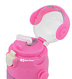 Термос детский с поилкой и шнурком на шею Disney 603 350 мл Микки Маус Розовый, фото 4