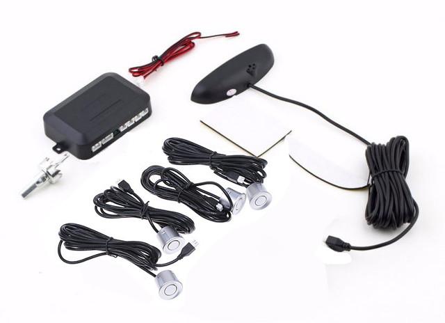 Парктроник автомобильный на 4 датчика + LCD монитор серебряный (4903)