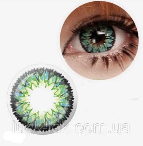 Цветные линзы для глаз фейерверк, зеленые + контейнер для линз в подарок