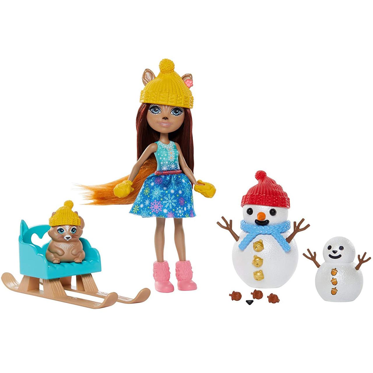 Кукла Энчантималс Белка на санках со снеговиком Enchantimals