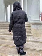 Длинный пухавик пальто Rufuete 19929-black, фото 4
