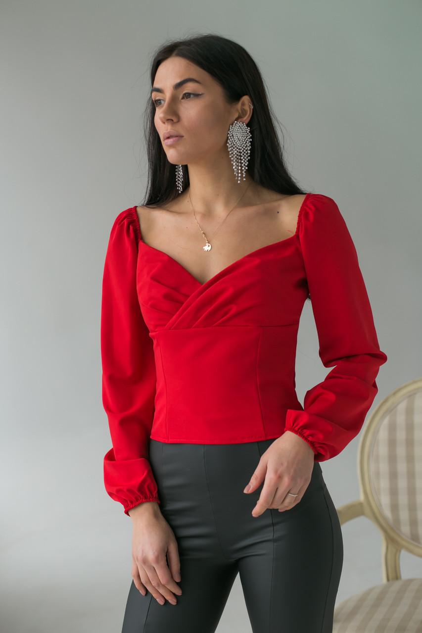 Изысканная женская блуза с длинными рукавами—фонариками LUREX - красный цвет, M (есть размеры)