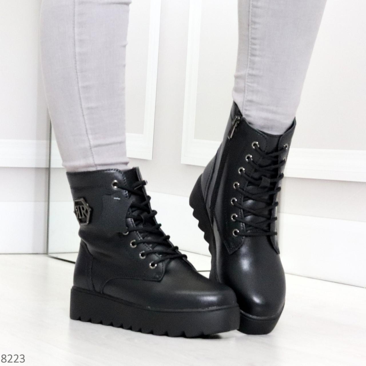 Удобные черные женские зимние ботинки из натуральной кожи на шнуровке 39-25см
