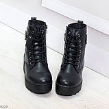 Удобные черные женские зимние ботинки из натуральной кожи на шнуровке 39-25см, фото 2