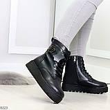 Удобные черные женские зимние ботинки из натуральной кожи на шнуровке 39-25см, фото 3