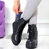 Удобные черные женские зимние ботинки из натуральной кожи на шнуровке 39-25см, фото 4