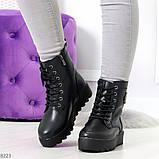 Удобные черные женские зимние ботинки из натуральной кожи на шнуровке 39-25см, фото 5