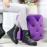 Удобные черные женские зимние ботинки из натуральной кожи на шнуровке 39-25см, фото 6
