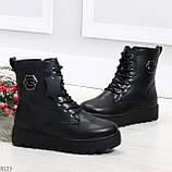Удобные черные женские зимние ботинки из натуральной кожи на шнуровке 39-25см, фото 7