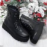 Удобные черные женские зимние ботинки из натуральной кожи на шнуровке 39-25см, фото 8