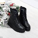 Удобные черные женские зимние ботинки из натуральной кожи на шнуровке 39-25см, фото 9