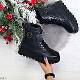 Удобные черные женские зимние ботинки из натуральной кожи на шнуровке 39-25см, фото 10