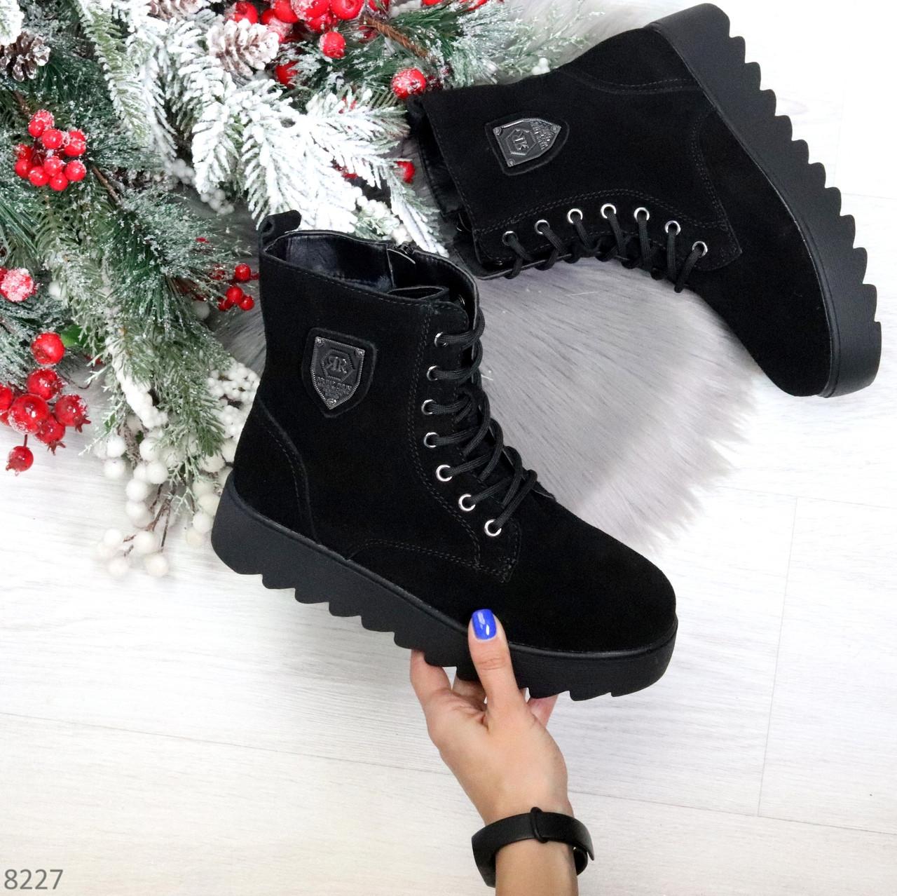 Стильные повседневные женские черные зимние ботинки из натуральной замши