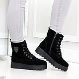 Стильные повседневные женские черные зимние ботинки из натуральной замши, фото 2