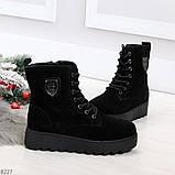 Стильные повседневные женские черные зимние ботинки из натуральной замши, фото 5