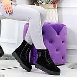Стильные повседневные женские черные зимние ботинки из натуральной замши, фото 6