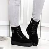 Стильные повседневные женские черные зимние ботинки из натуральной замши, фото 7