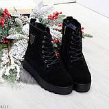 Стильные повседневные женские черные зимние ботинки из натуральной замши, фото 8