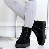 Стильные повседневные женские черные зимние ботинки из натуральной замши, фото 9