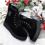 Стильные повседневные женские черные зимние ботинки из натуральной замши, фото 10