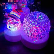 Новогодний светильник шар Снеговик светодиодный led лед диско вращающийся рождественский проектор настольный