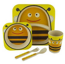 Набор детской бамбуковой посуды Stenson 5 предметов MH-2770-3 Пчелка