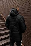 Мужская зимняя синяя стеганая удлиненная куртка с капюшоном. Мужская синяя парка зима, фото 3