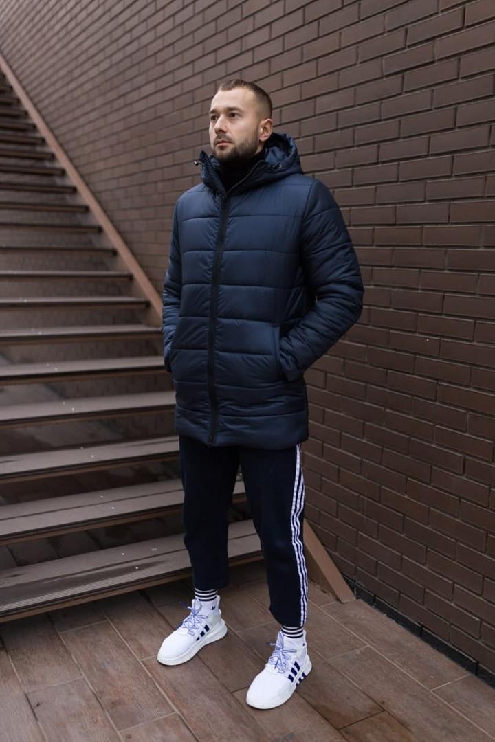 Мужская зимняя синяя стеганая удлиненная куртка с капюшоном. Мужская синяя парка зима