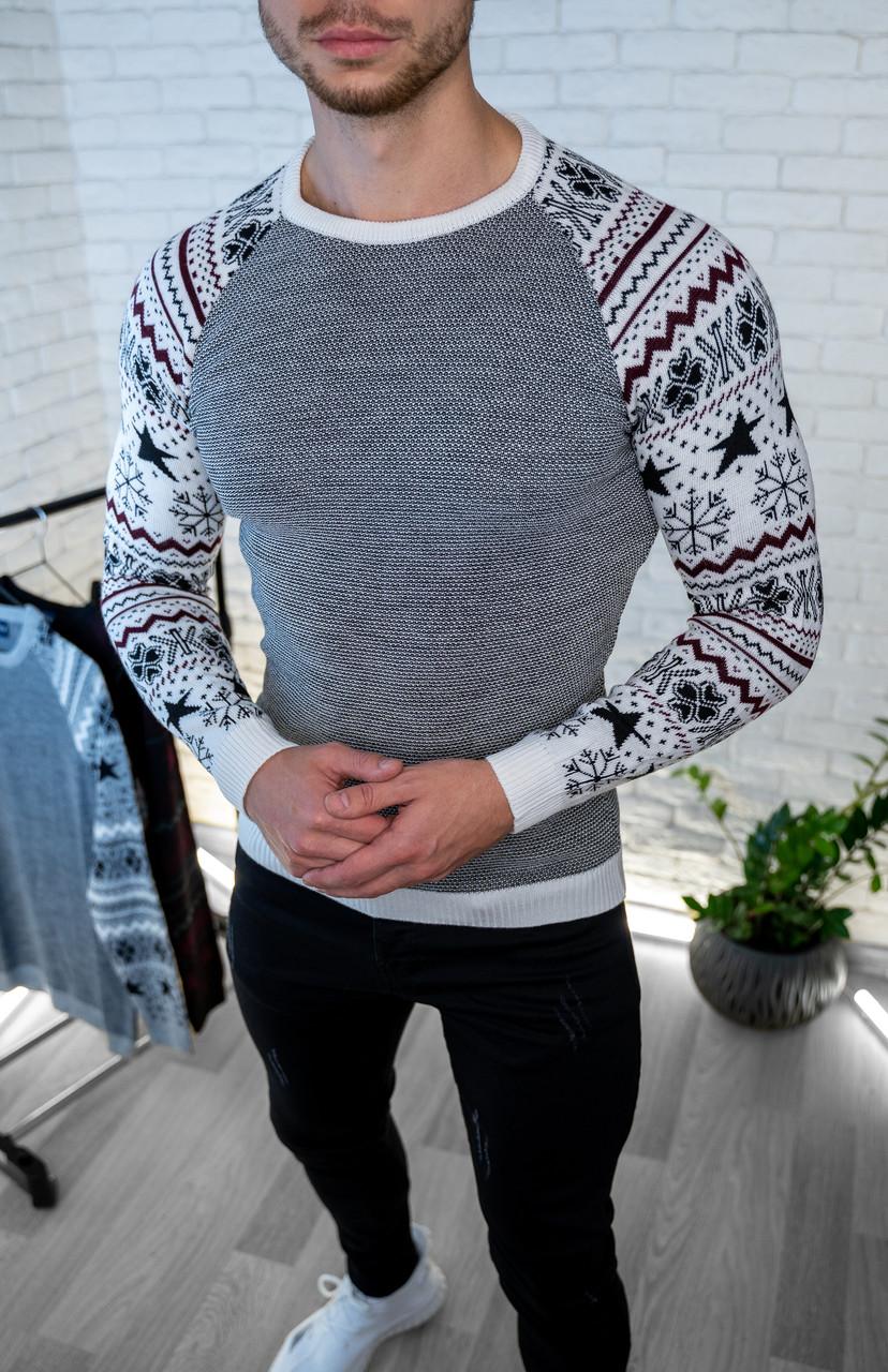 Мужской джемпер Серый с рисунком / Турция Светло-серый, XL