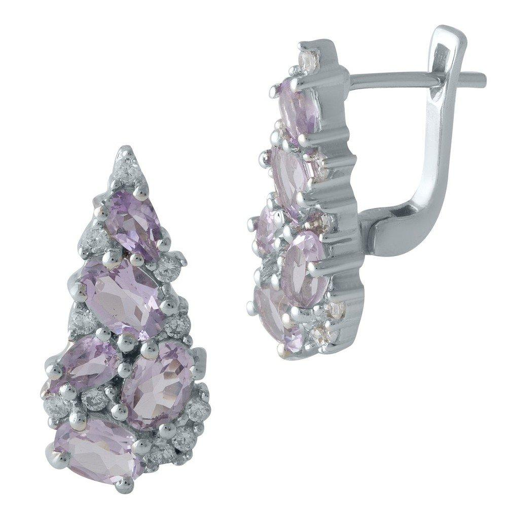 Серебряные серьги DreamJewelry с натуральным аметистом (1999004)