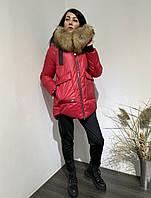 Пуховик женский зимний Olanmear красного цвета,в наличии размер S,M,XL,2XL