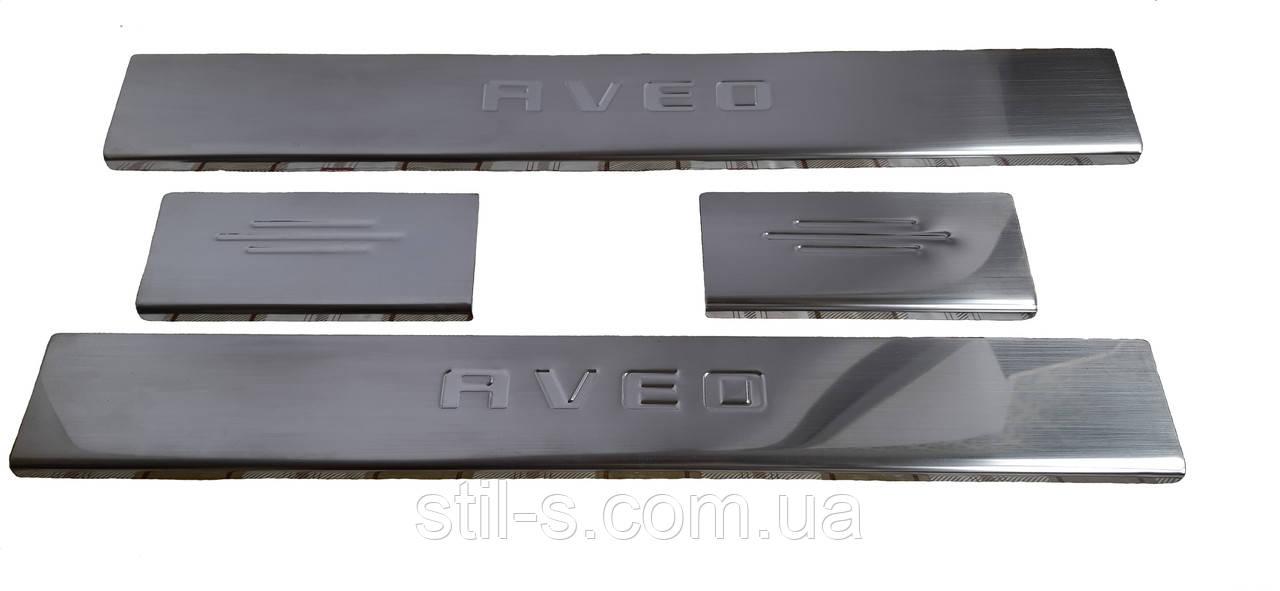 Накладки на пороги Chevrolet Aveo T250 (хечбек 5 дв.)