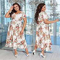 """Элегантное женское платье в батальных размерах 824 """"Креп Цветы Клёш Миди"""" в расцветках"""