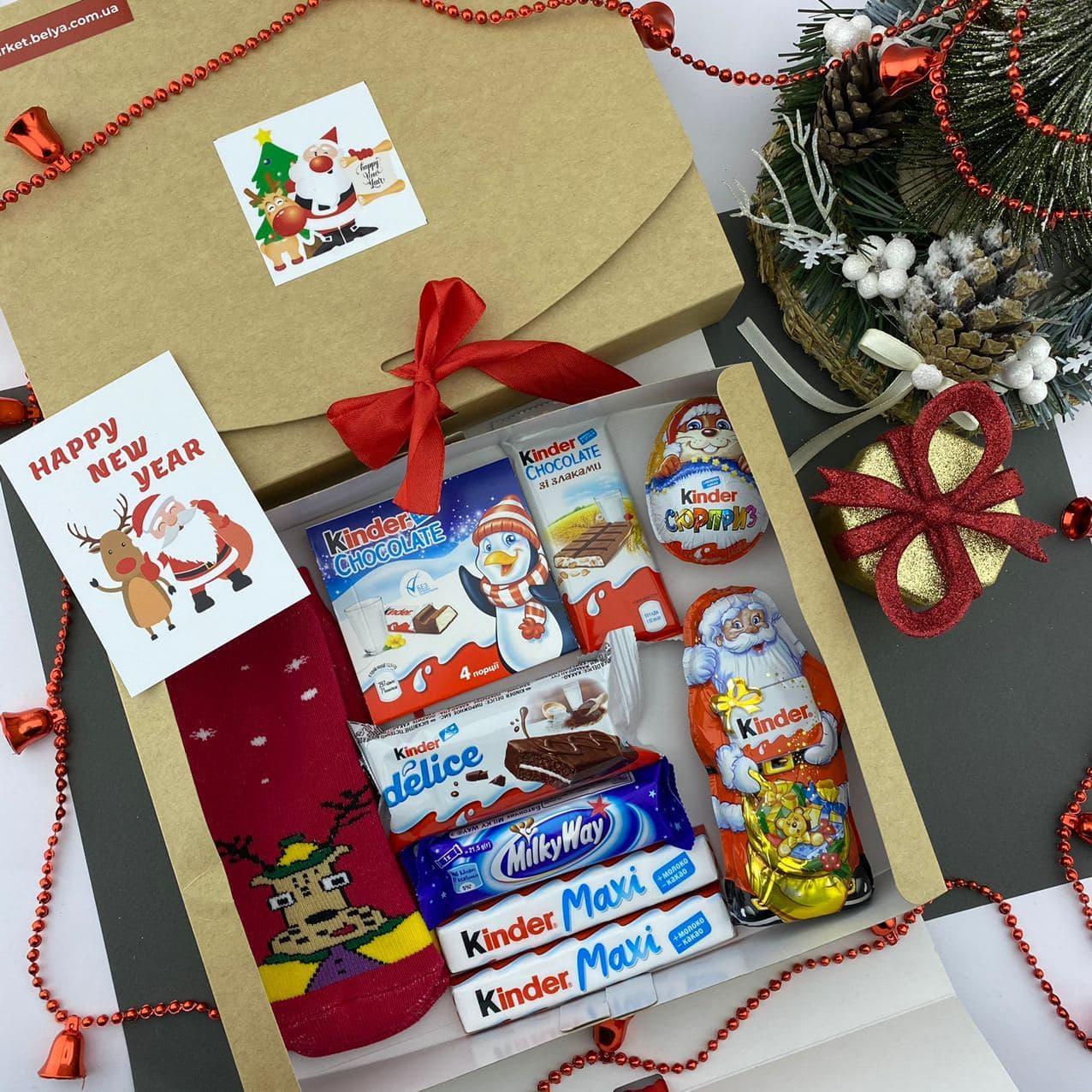 Новогодний подарочный набор детский со сладостями