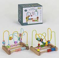 Деревянная игрушка Лабиринт пальчиковый, фигуры, счеты