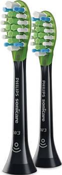 Насадки для звукових зубних щіток Philips BHs W3 Premium White Black 2BHs HX9062/33, 2 шт.