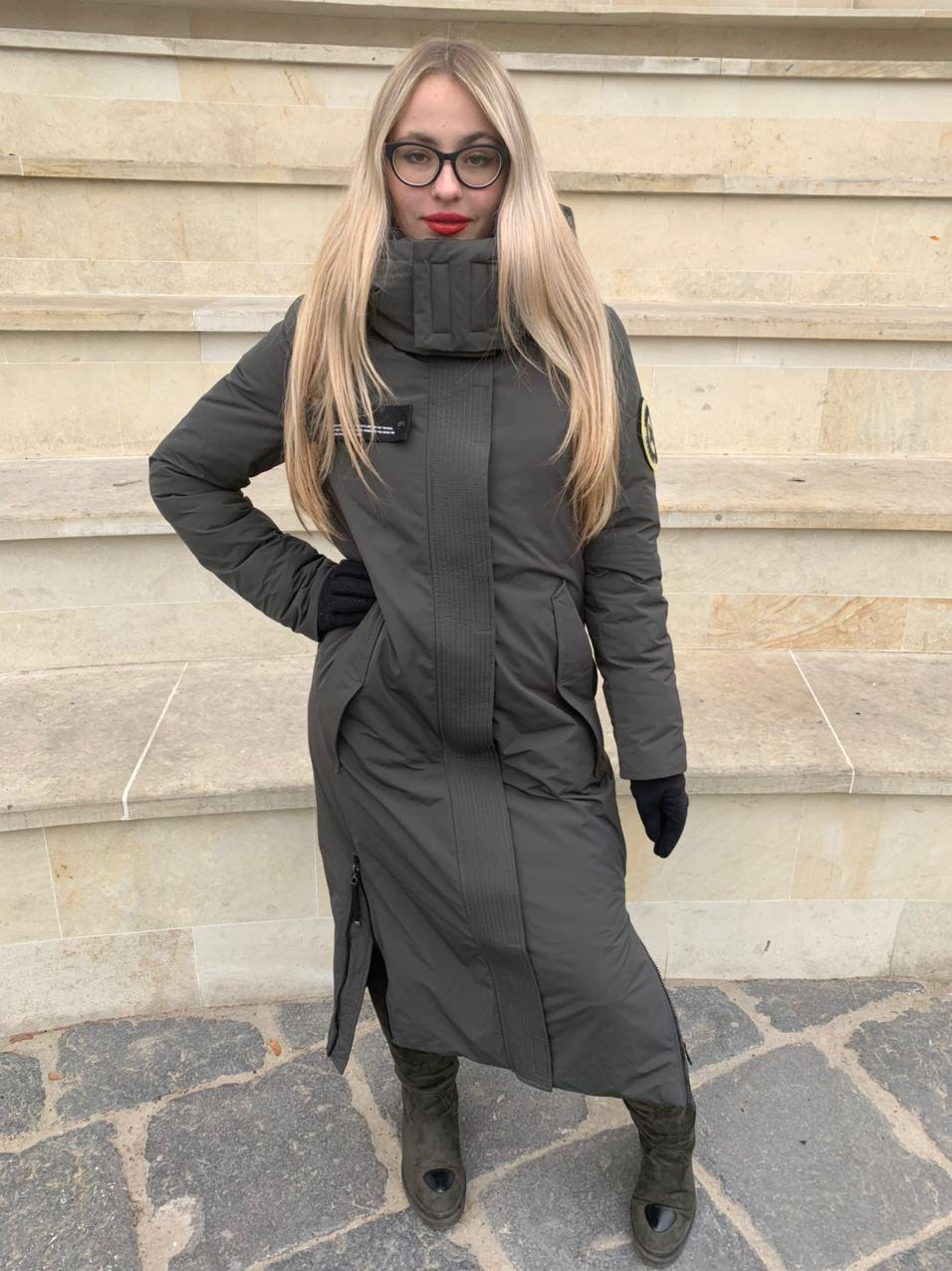 Длинная куртка пальто цвета хаки Tongcoi 7732