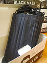 Маски медицинские Черные медичні Чорні Стандарт. 3 слоя, фиксатор. Коробка 50шт, фото 3