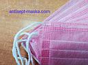 Защитные медицинские маски Розовые Рожеві медичні. Мельтблаун слой. 3 слоя, фиксатор. Коробка 50шт, фото 4