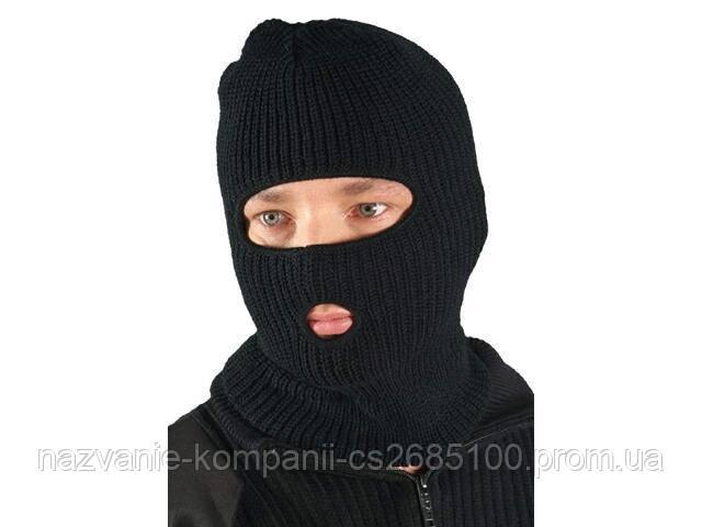 """Шапка-маска балаклава """"REIS"""" зимняя (двойная вязка), черная"""