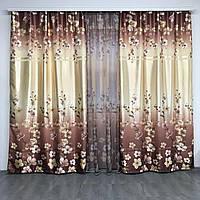 Шторы с цветами плотные атласные 150x270 cm (2 шт) с тюлью ALBO коричневые  (SH-157-4), фото 1