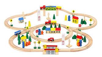 Деревянная железная дорога 100 элементов 6864