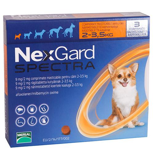 НЕКСГАРД СПЕКТРА для собак 2-3,5 кг NEXGARD SPECTRA таблетки против блох, клещей и глистов, 1 таблетка