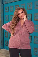 Женская теплая кофта на пуговицах больших размеров, фото 1