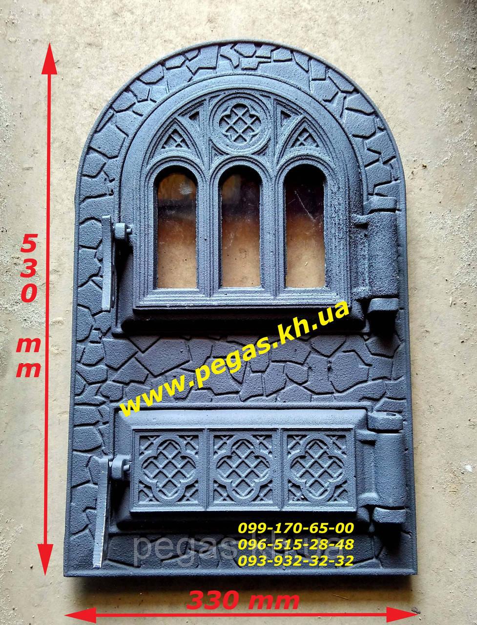 Дверца со стеклом чугунная, барбекю, печи, грубу, мангал, камин