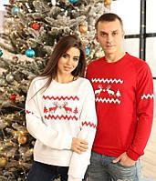 Новогодние парные свитшоты. Одежда для парня и девушки.