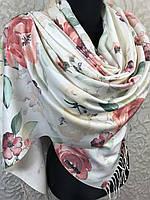 Турецкий молочный палантин в цветочек с бахромой (цв.3)