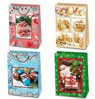 Пакет подарочный новогодний микс 28х12,5х38, Цена за 1 пакет. 8455